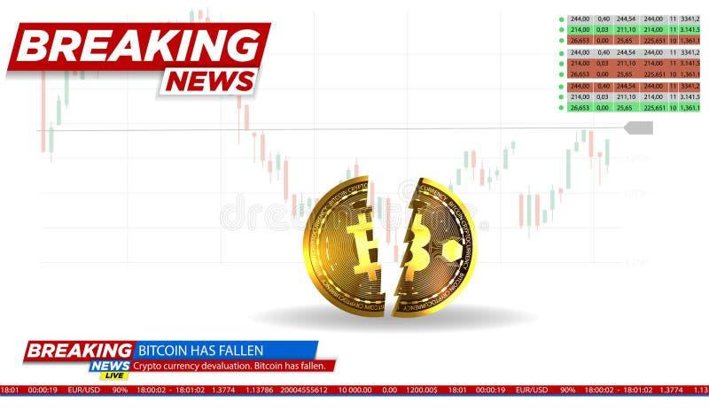 Ikone von Bitcoin Realistische Bitcoin-Münze Modernes cryptocurrency Der Einsturz des cryptocurrency Die goldene Taste oder Errei vektor abbildung