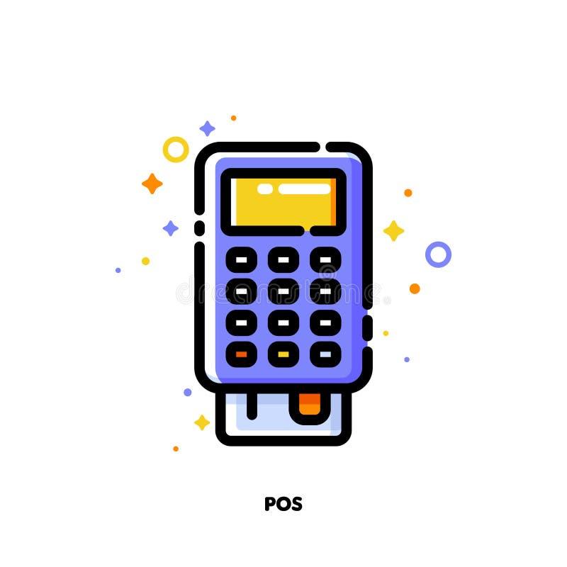 Ikone von Positions-Anschluss oder von Bankkarteleser für den Einkauf und Kleinkonzept Ebene gef?llte Entwurfsart Pixel perfektes lizenzfreie abbildung