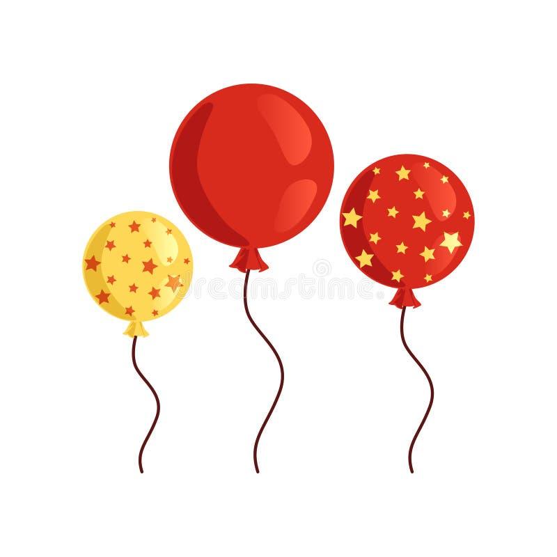 Ikone von zwei rot und von gelben glatten Ballonen einer für Geburtstagsfeier Dekorative Elemente für Einladungs- oder Grußkarte vektor abbildung