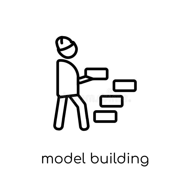 Ikone vorbildlichen Errichtens Modisches modernes flaches lineares Vektor Modell buil stock abbildung