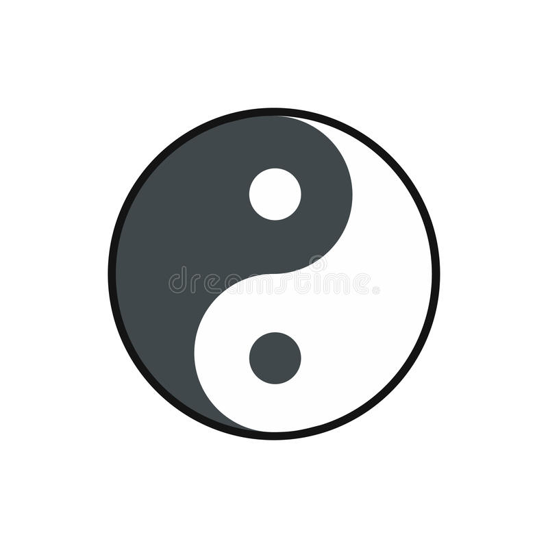 Ikone Ying Yang, flache Art stock abbildung