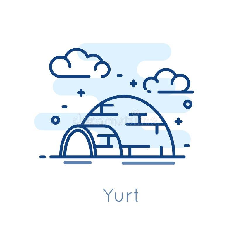 Ikone Yurt auf weißem Hintergrund Dünne Linie flaches Design Vektor stock abbildung