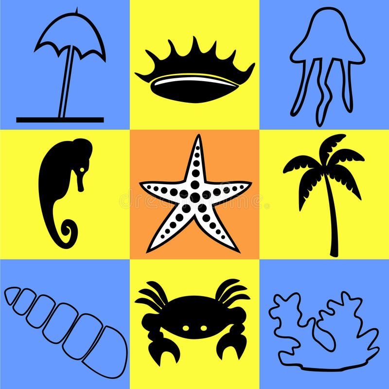 Ikonen auf einem Thema des Meeres und des Meeresflora und -fauna vektor abbildung