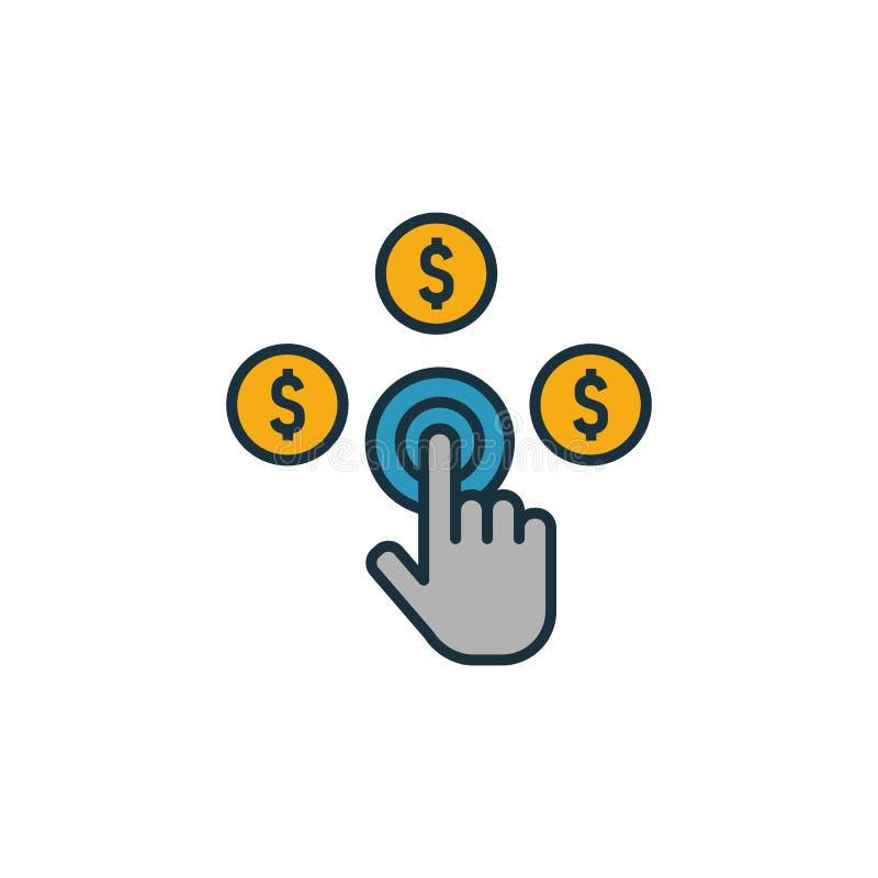 Ikonen Betala per klickning Skapa ett fyllt kreativt element från samling med reklamikoner Premium pay per click-ikon för ui, ux, vektor illustrationer