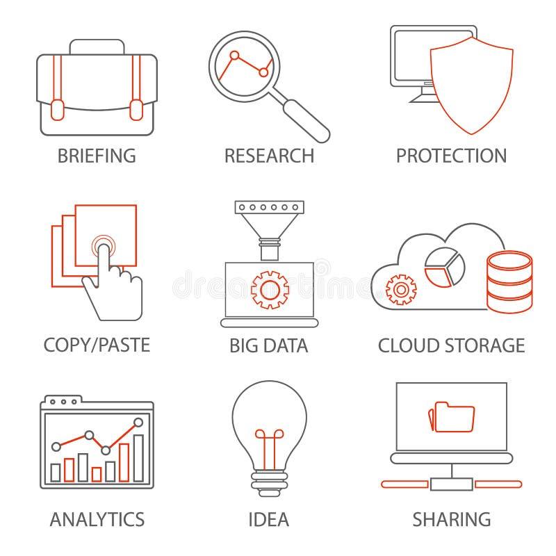 Ikonen bezogen auf Stützgeschäftsführung, Strategie, Karrierefortschritt und Geschäftsprozess Monolinie Piktogramme und infograph lizenzfreie abbildung