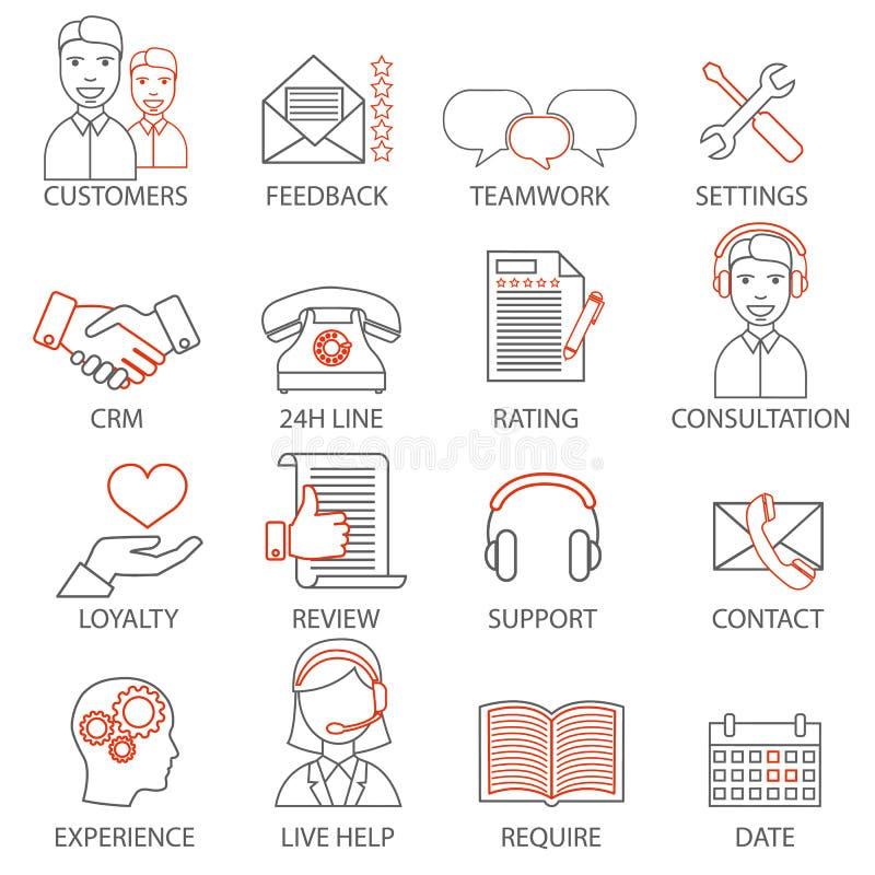 Ikonen bezogen auf Stützgeschäftsführung, Strategie, Karrierefortschritt und Geschäftsprozess Monolinie Piktogramme und infograph stock abbildung