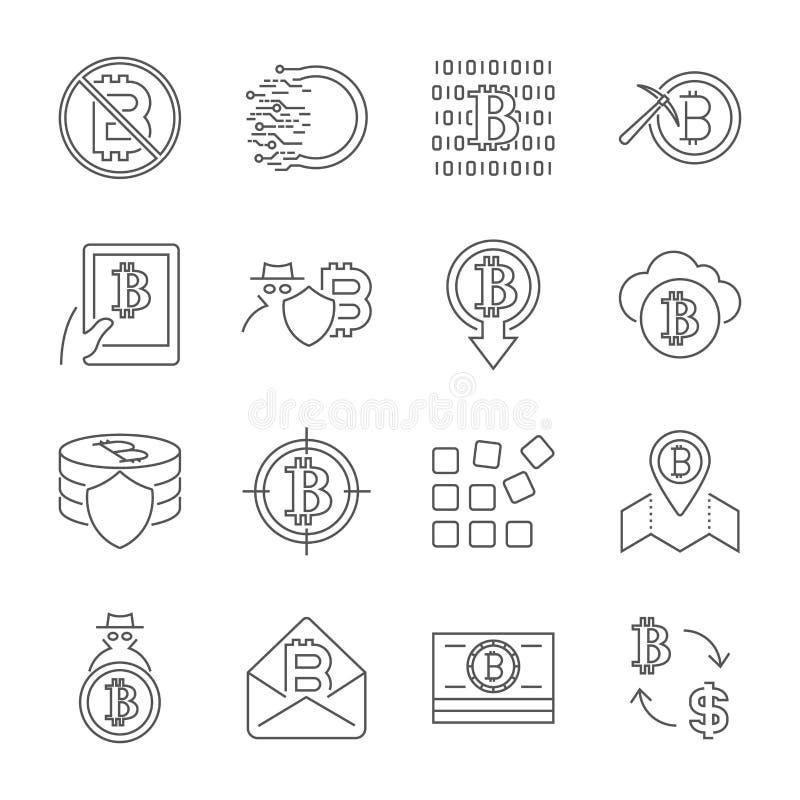 Ikonen Blockchain Cryptocurrency Moderner Computernetzwerktechnologie-Zeichensatz Digital-Bildzeichensammlung Bitcoin vektor abbildung