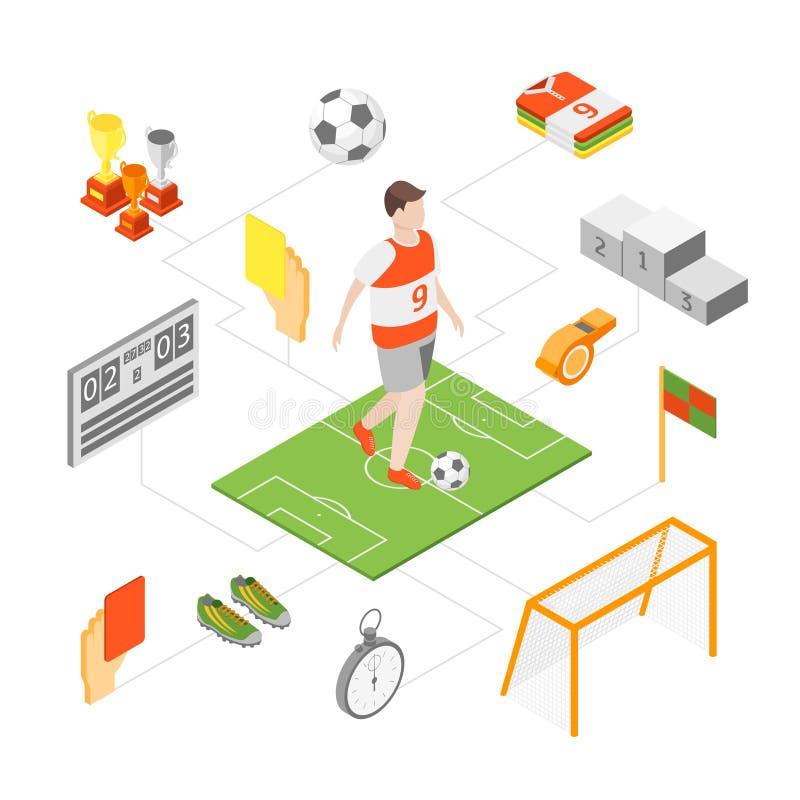 Ikonen der Fußball-Sport-Spiel-Zeichen-3d stellten isometrische Ansicht ein Vektor lizenzfreie abbildung