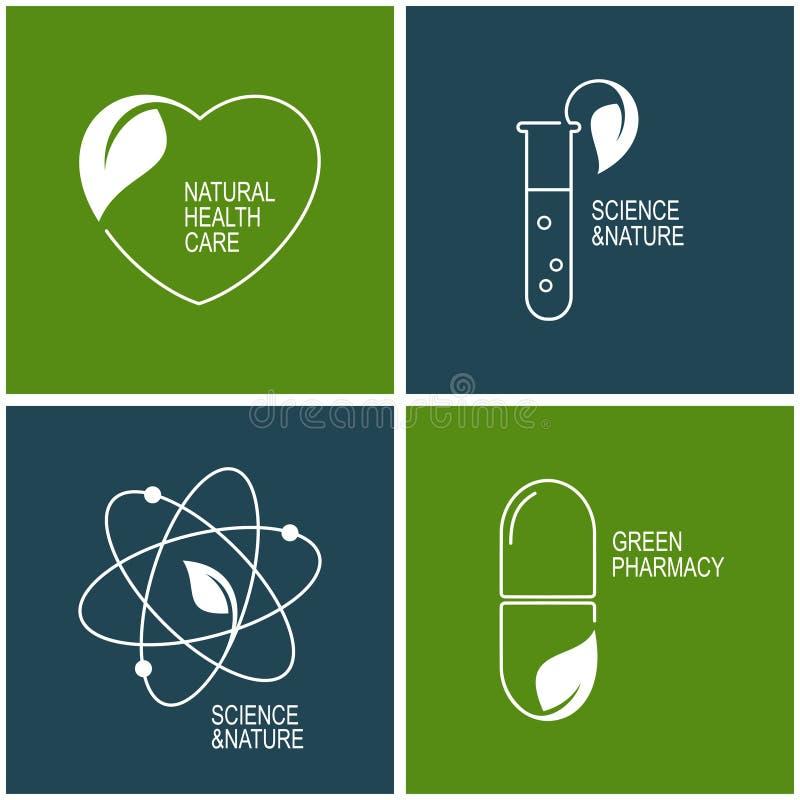 Ikonen der grünen Apotheke und der Kräutermedizin lizenzfreie abbildung