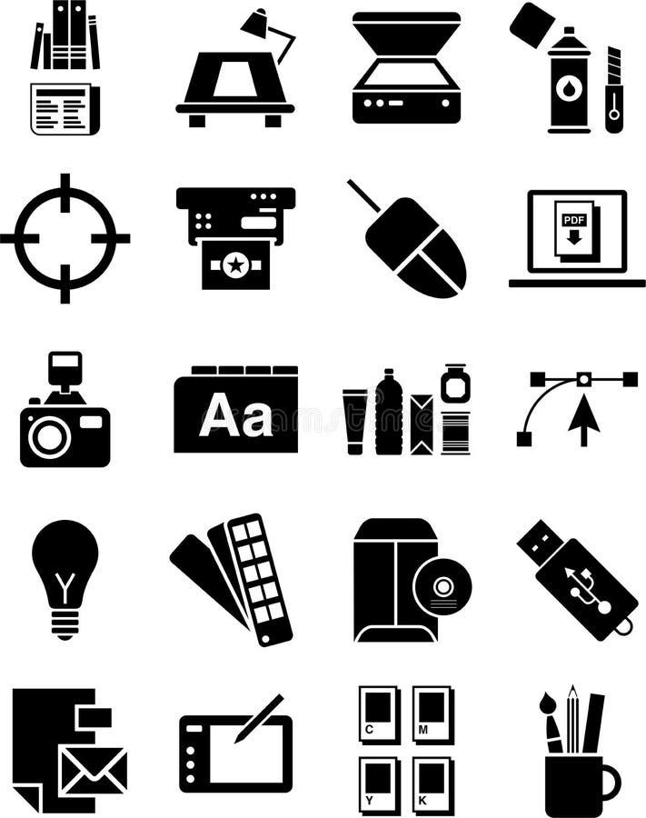 Ikonen der grafischen Auslegung lizenzfreie abbildung