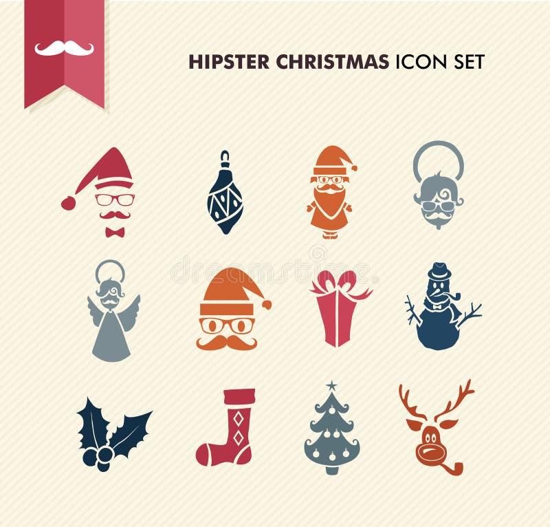 Ikonen der Hippie-frohen Weihnachten stellten Datei EPS10 ein. vektor abbildung