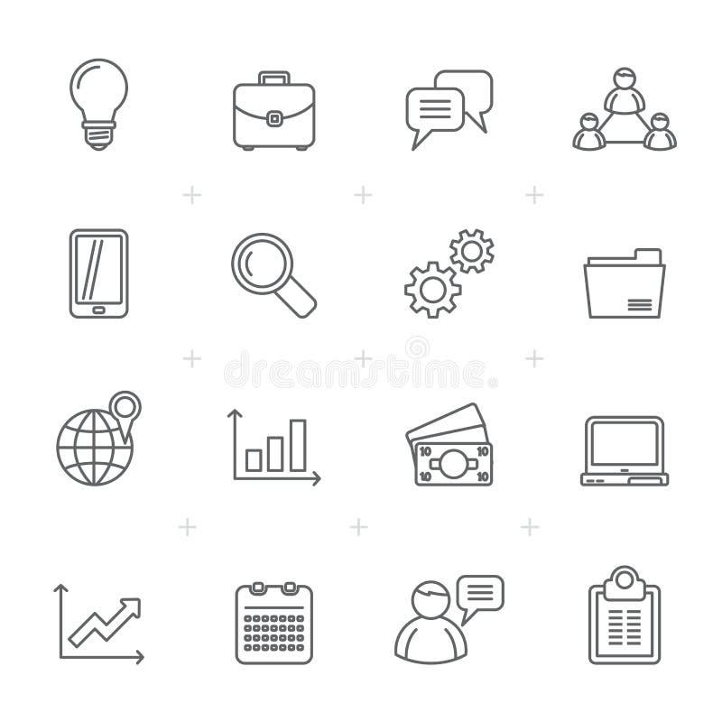 Ikonen der Linie Geschäft, der Finanzierung und des Managements lizenzfreie abbildung