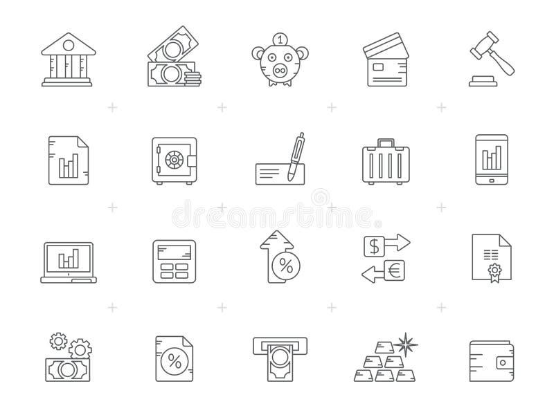 Ikonen der Linien-Bank, des Geschäfts und der Finanzierung lizenzfreie abbildung