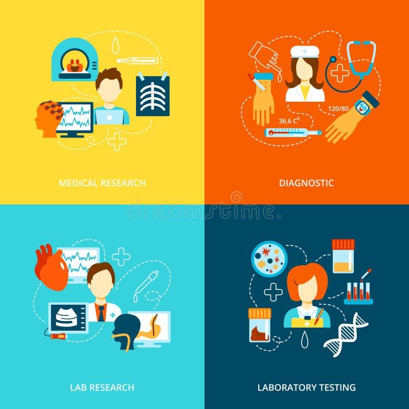 Ikonen der medizinischen Tests flach lizenzfreie abbildung