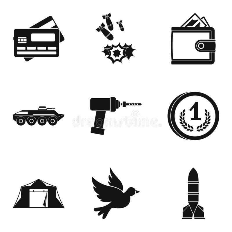 Ikonen der militärischen Streitkraft eingestellt, einfache Art stock abbildung
