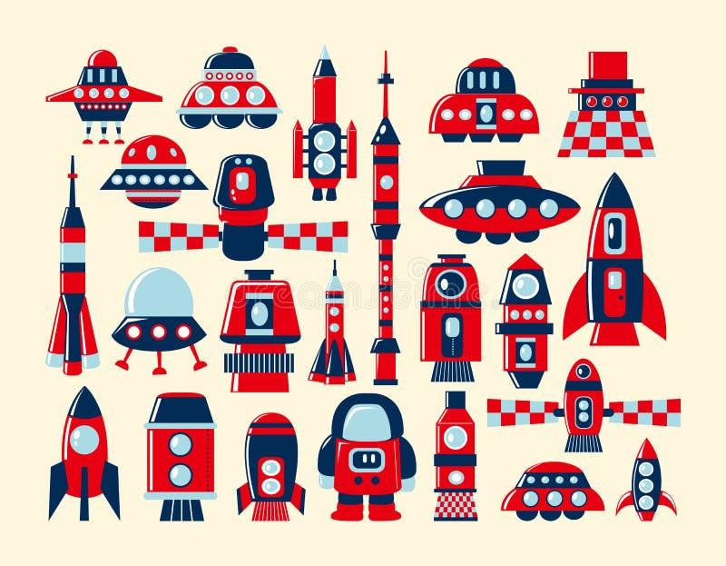 Ikonen Der Retro Rakete Stellten Element Ein Stockbild