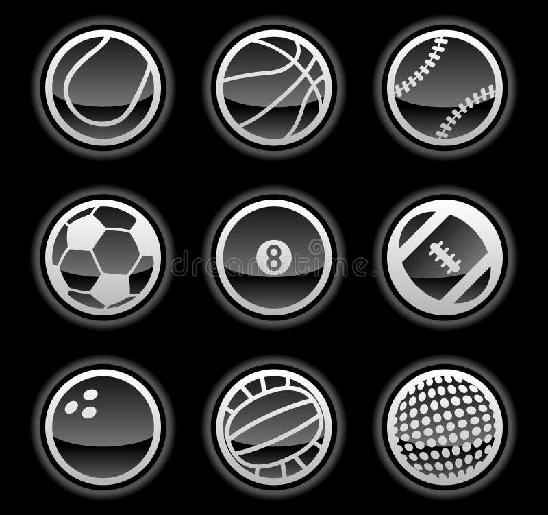 Ikonen der schwarzen Kugel lizenzfreie abbildung