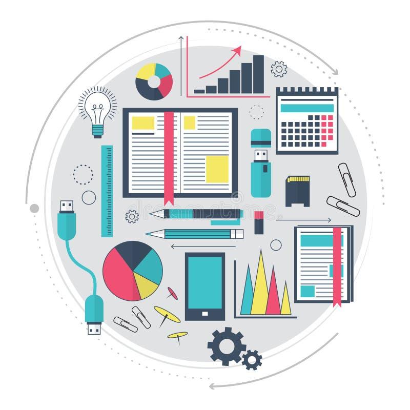 Ikonen der Suchmaschinen-Optimierungs-Service-, SEO-Datenanalytik und des Schlüsselwortprozesses Modernes Konzept für Website ode lizenzfreie abbildung