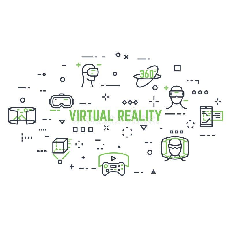 Ikonen der virtuellen Realität vektor abbildung