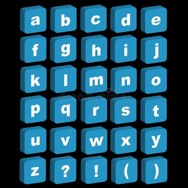 Ikonen des Alphabetes 3D - Kleinschreibung lizenzfreie abbildung