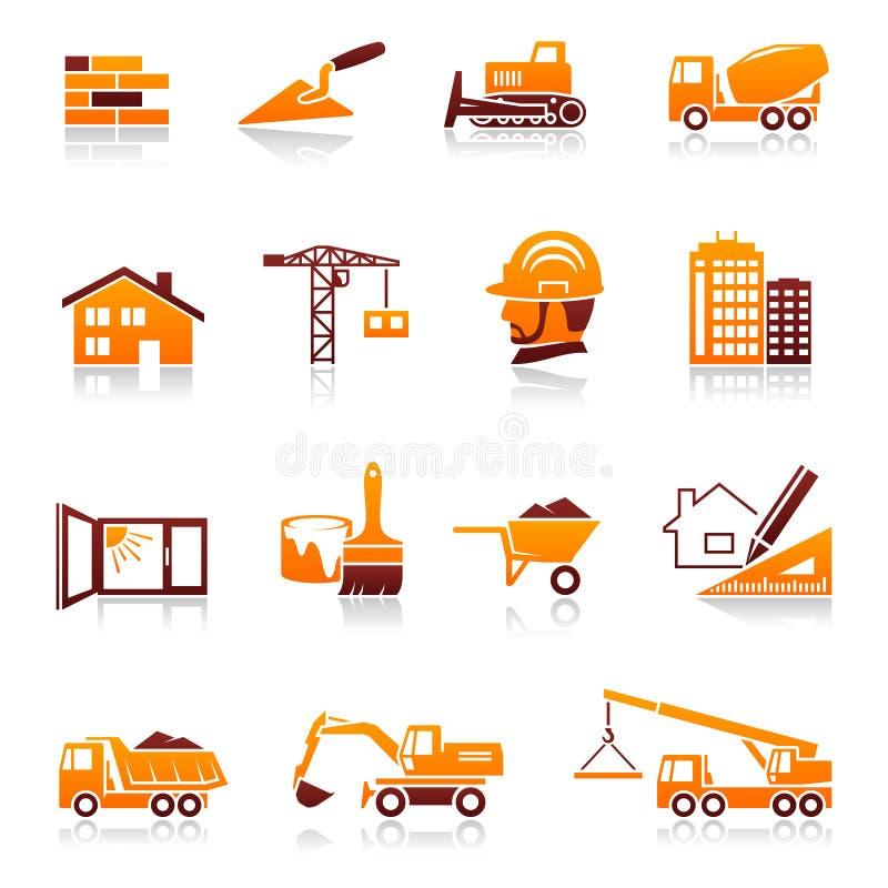 Ikonen des Aufbaus und des Grundbesitzes vektor abbildung