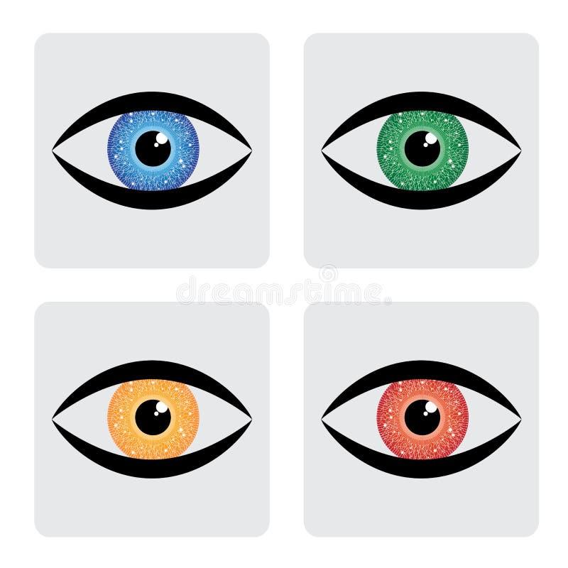 Ikonen des menschlichen Auges des roten, gelben, blauen Grüns mit circu lizenzfreie abbildung