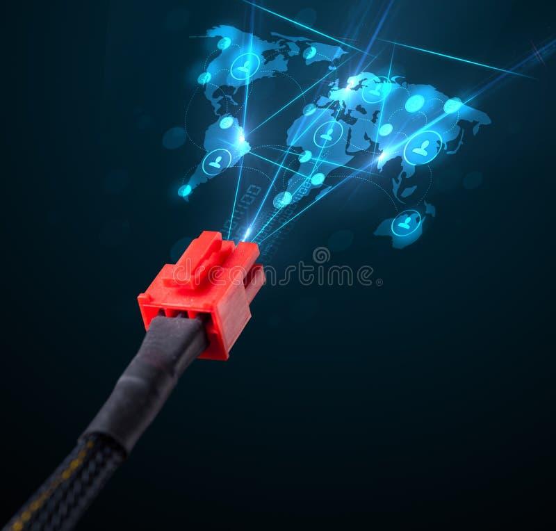 Ikonen des Sozialen Netzes, die aus elektrische Leitung herauskommen lizenzfreie abbildung
