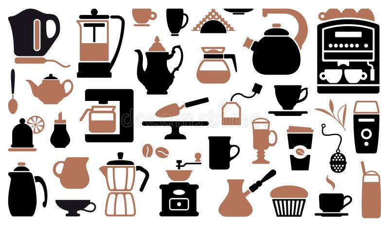 Ikonen des Tees und des Kaffees stock abbildung