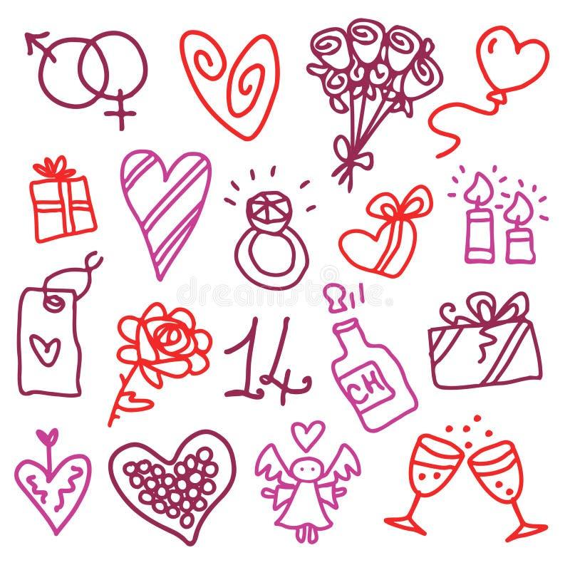 Ikonen des Valentinsgrußes lizenzfreie abbildung