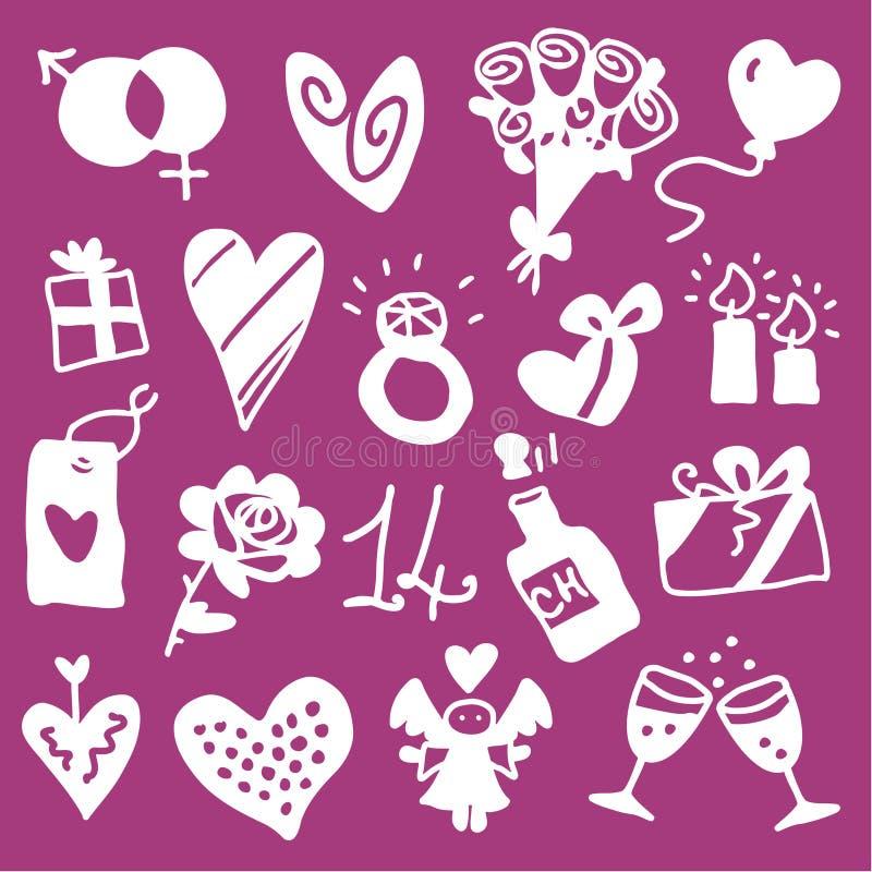 Ikonen des Valentinsgrußes - Schattenbilder lizenzfreie abbildung