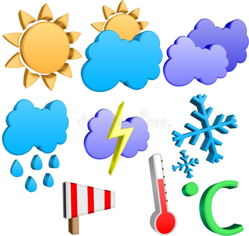 Ikonen des Wetters 3d lizenzfreie abbildung