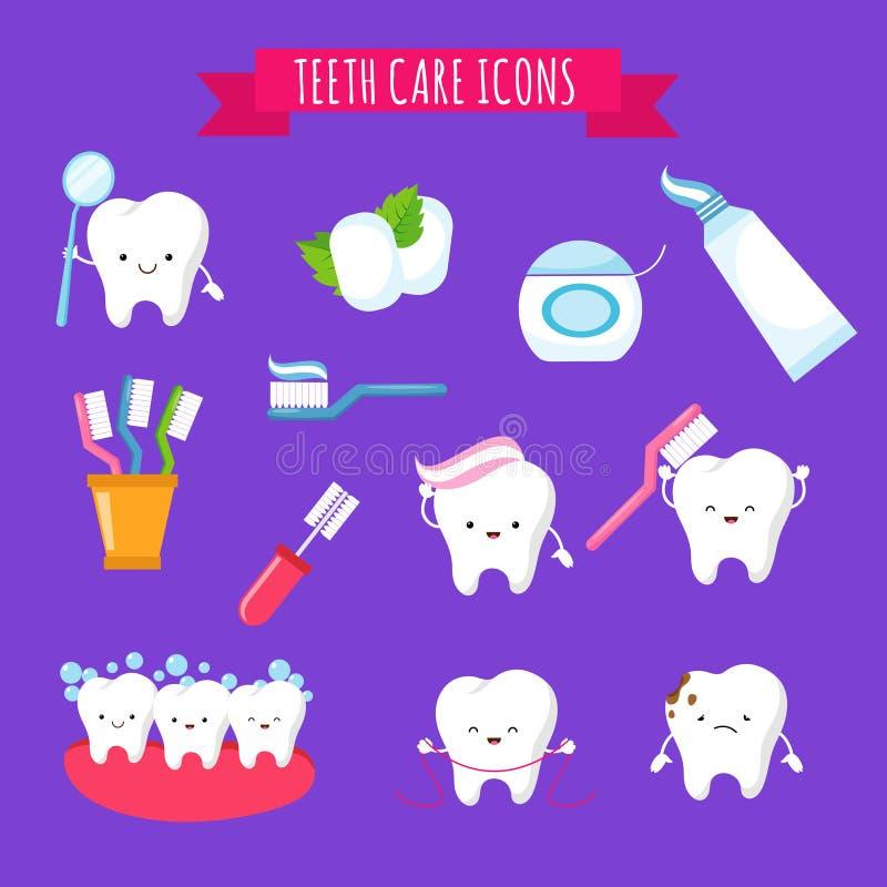 Ikonen des Zähneputzens und nette der Karikatur des Zahnpflegen für Kinder Lustige Zähne mit Zahnbürste und Zahnpasta lizenzfreie abbildung