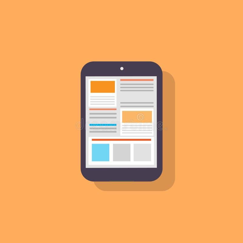 Ikonen-Designvektor des Tablet-Computers flacher lizenzfreie abbildung
