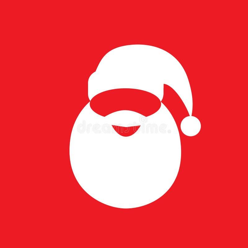Ikonen-Designvektor des Weihnachtsmann-Hutbartes flacher stock abbildung