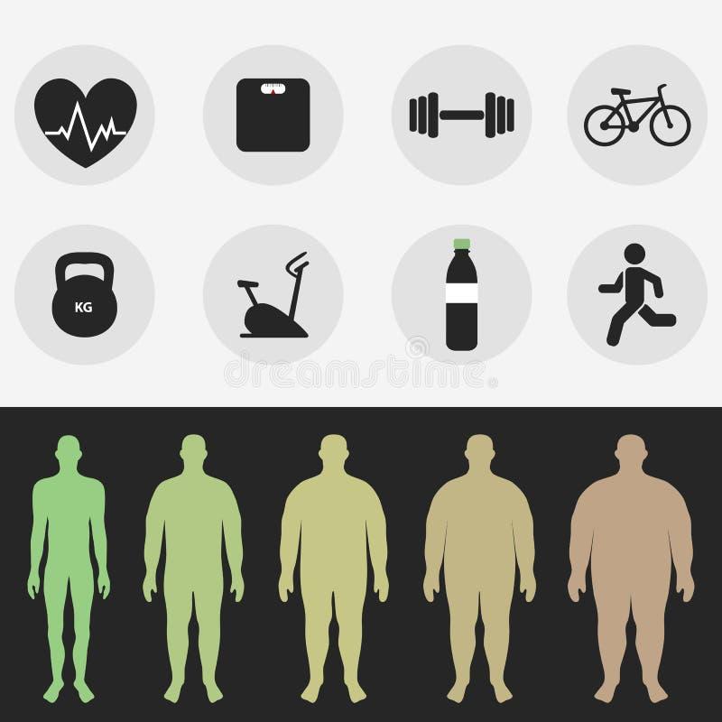 Ikonen, die Zahl eines Mannes, Sport, Eignung, Diät Vektor lizenzfreie abbildung