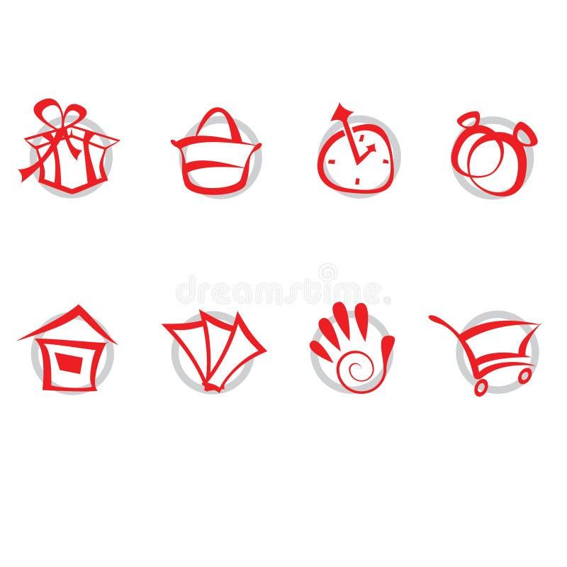 Ikonen eingestellt - Einkaufen stock abbildung