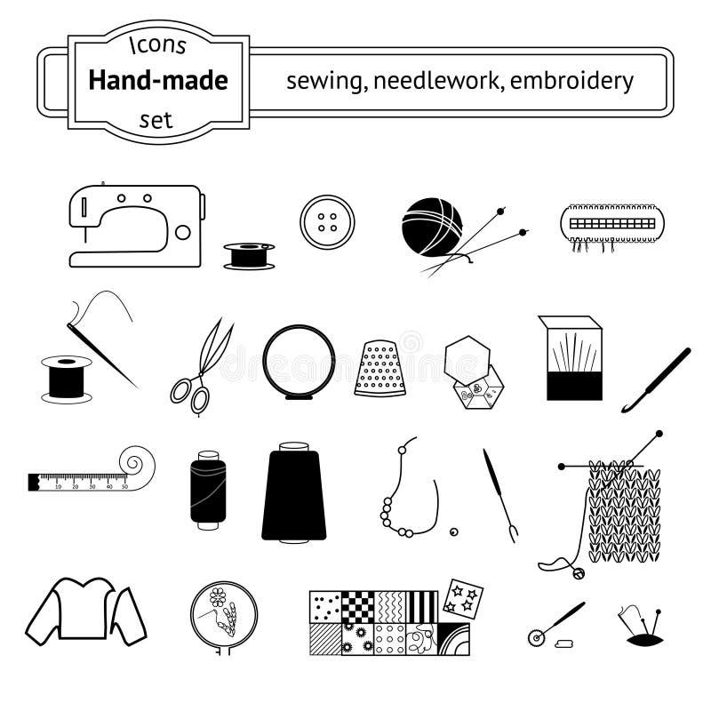 Ikonen eingestellt Nähen, needlwork, strickend vektor abbildung