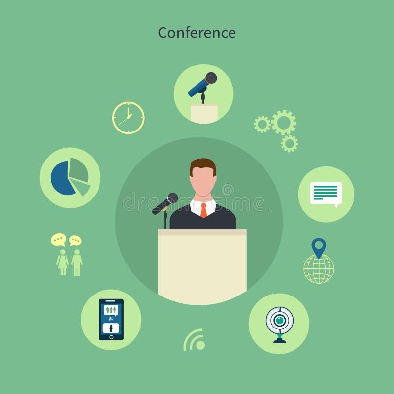 Ikonen eingestellt vom infographic Design der Sitzungskonferenz lizenzfreie abbildung