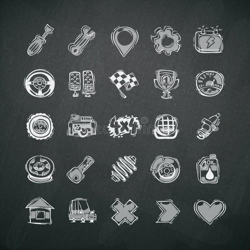 Ikonen eingestellt von den Auto-Symbolen auf Tafel vektor abbildung