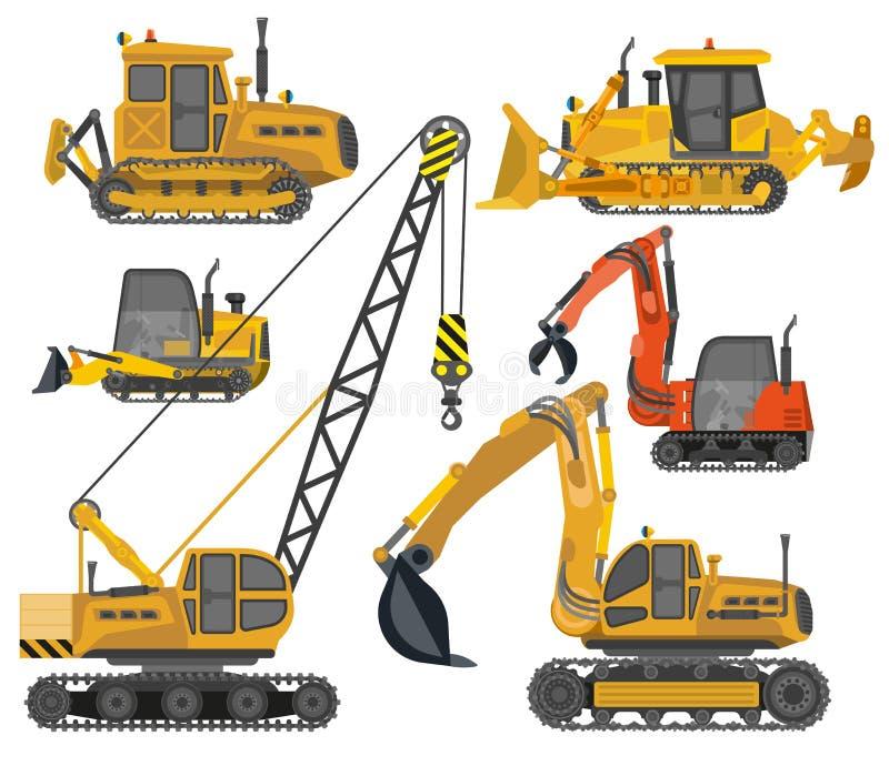 Ikonen eingestellt von den Baumaschinen lizenzfreie abbildung