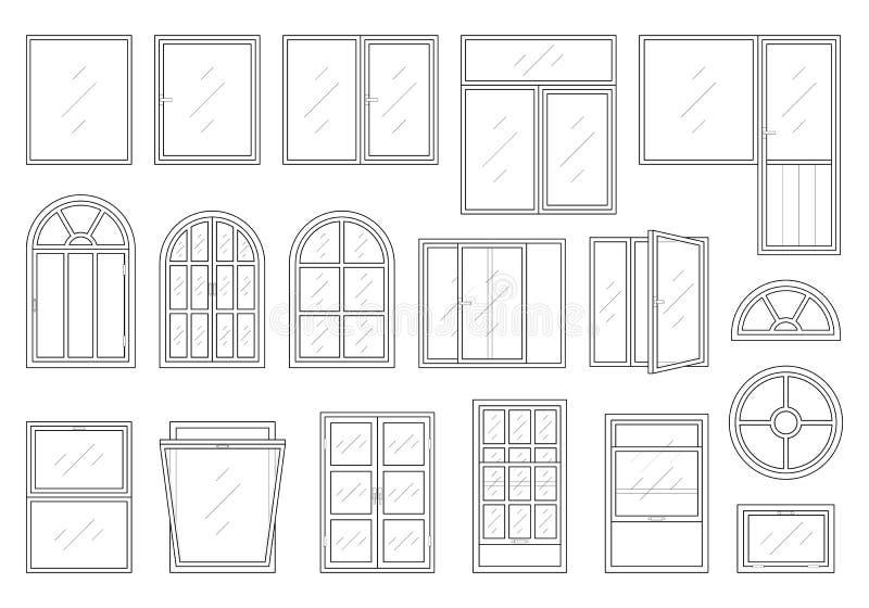 Ikonen eingestellt von den Fensterarten lizenzfreie abbildung