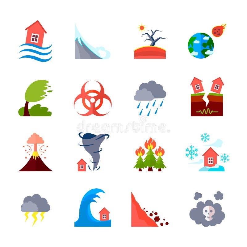 Ikonen eingestellt von den Naturkatastrophen lizenzfreie abbildung