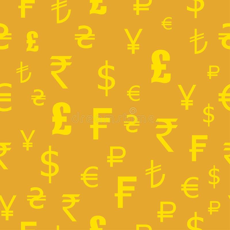 Ikonen eingestellt von den Währungen der Welt Nahtloses Muster Dollar, Euro, Pfund, Franken, Rupien, Yen stock abbildung