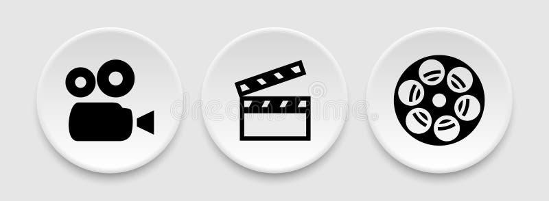 Ikonen eingestelltes Kino und Filme getrennt auf Weiß vektor abbildung