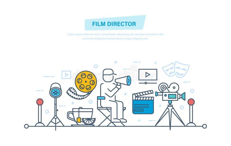 Ikonen eingestelltes Kino und Filme getrennt auf Weiß Filmregisseur nimmt im Prozess der Schmierfilmbildung, Management teil lizenzfreie abbildung