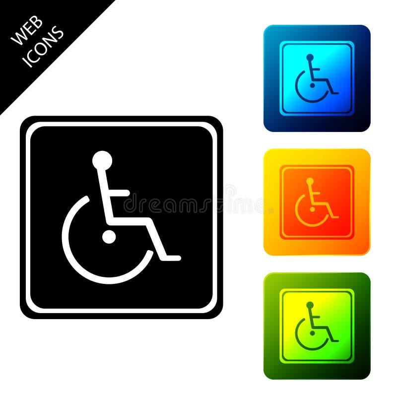 Ikonen för inaktiverat handikapp isolerad Hjulstolsfunktionstecken Ange ikoner för färgstarka fyrkantiga knappar stock illustrationer