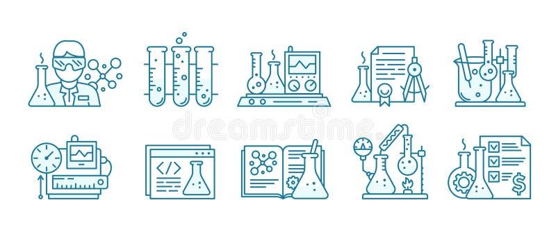 Ikonen för kemi Utbildningslabbbakgrund Produktion av kemikaliesats Laboratorieforskningsexperiment royaltyfri illustrationer