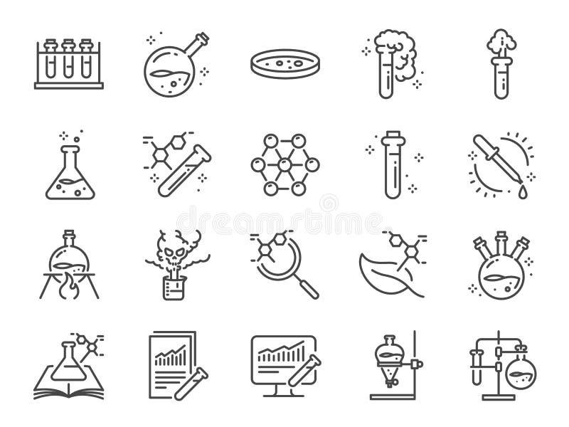 Ikonen för kemilaboratorier Inkluderade ikoner som kemikalie, formel, medicinsk analys, laboratorietestkolv, experiment med mera stock illustrationer