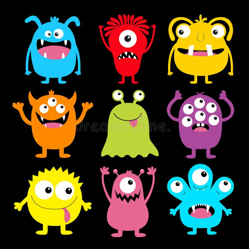 Ikonen för ljuddämpande monster, färgstark runt silhuette, inställd Ögon, tunga, tand fang, hand upp Cartoon kawaii läskiga, roli stock illustrationer