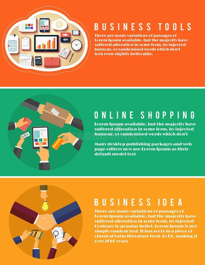 Ikonen für das on-line-Einkaufen, Idee, Geschäftswerkzeuge stock abbildung